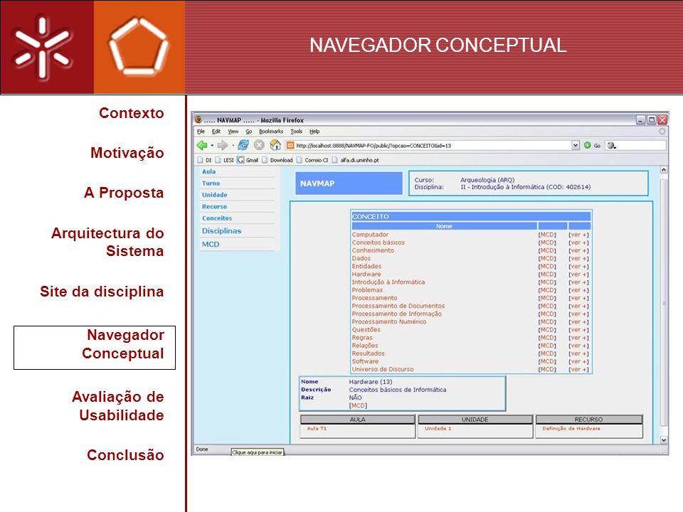 NAVEGADOR CONCEPTUAL Contexto Motivação A Proposta Arquitectura do Sistema Site da disciplina Navegador Conceptual Avaliação de Usabilidade Conclusão
