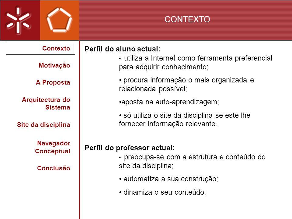 CONTEXTO Contexto Motivação A Proposta Arquitectura do Sistema Site da disciplina Navegador Conceptual Conclusão Perfil do aluno actual: utiliza a Int
