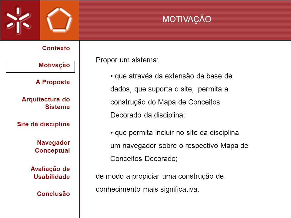 MOTIVAÇÃO Propor um sistema: que através da extensão da base de dados, que suporta o site, permita a construção do Mapa de Conceitos Decorado da disci