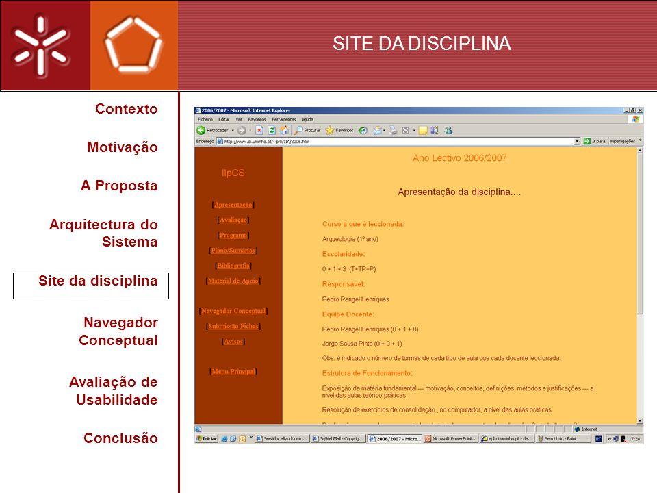 SITE DA DISCIPLINA Contexto Motivação A Proposta Arquitectura do Sistema Site da disciplina Navegador Conceptual Avaliação de Usabilidade Conclusão