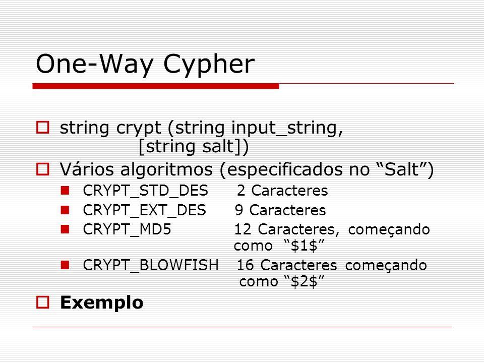 One-Way Cypher string crypt (string input_string, [string salt]) Vários algoritmos (especificados no Salt) CRYPT_STD_DES 2 Caracteres CRYPT_EXT_DES 9