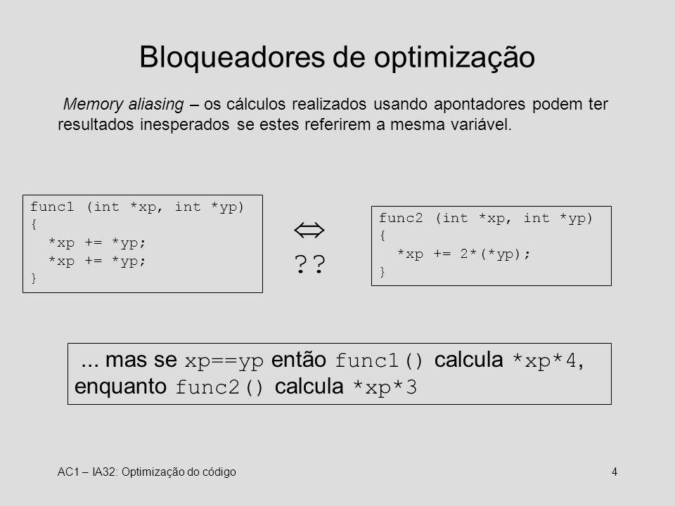 AC1 – IA32: Optimização do código4 Bloqueadores de optimização Memory aliasing – os cálculos realizados usando apontadores podem ter resultados inesperados se estes referirem a mesma variável.