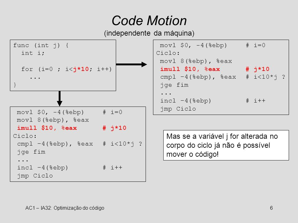 AC1 – IA32: Optimização do código6 Code Motion (independente da máquina) func (int j) { int i; for (i=0 ; i<j*10; i++)... } movl $0, -4(%ebp)# i=0 Cic