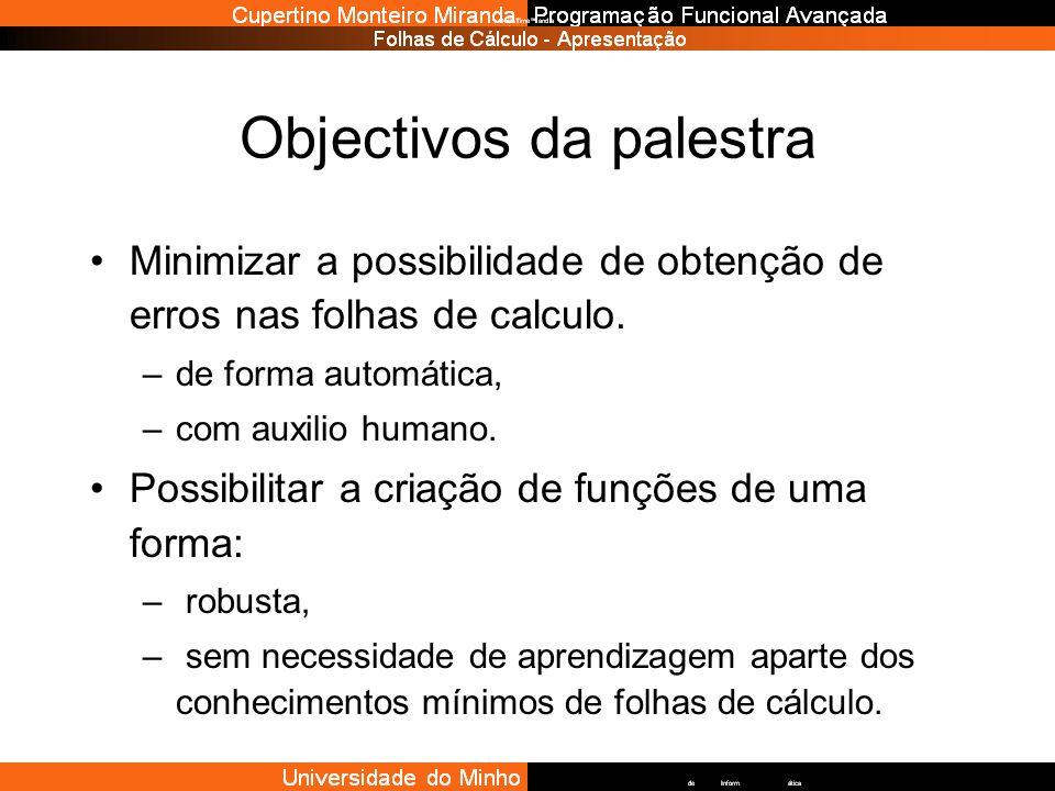 Objectivos da palestra Minimizar a possibilidade de obtenção de erros nas folhas de calculo. –de forma automática, –com auxilio humano. Possibilitar a