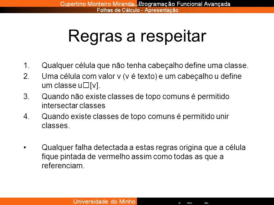 Regras a respeitar 1.Qualquer célula que não tenha cabeçalho define uma classe. 2.Uma célula com valor v (v é texto) e um cabeçalho u define um classe