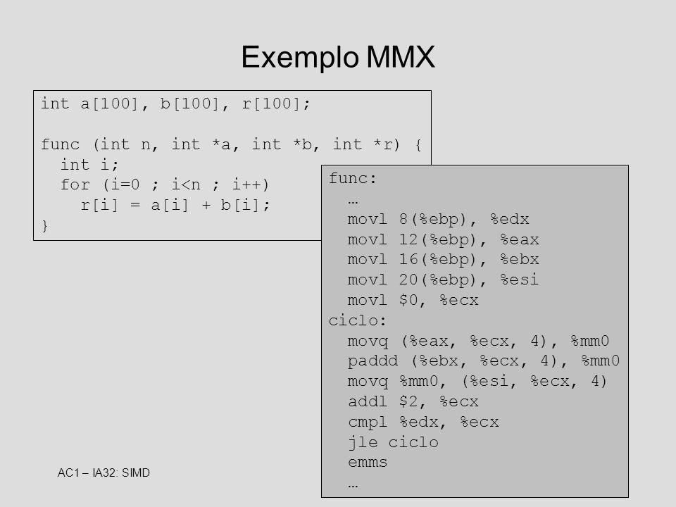 AC1 – IA32: SIMD10 Exemplo MMX int a[100], b[100], r[100]; func (int n, int *a, int *b, int *r) { int i; for (i=0 ; i<n ; i++) r[i] = a[i] + b[i]; } f