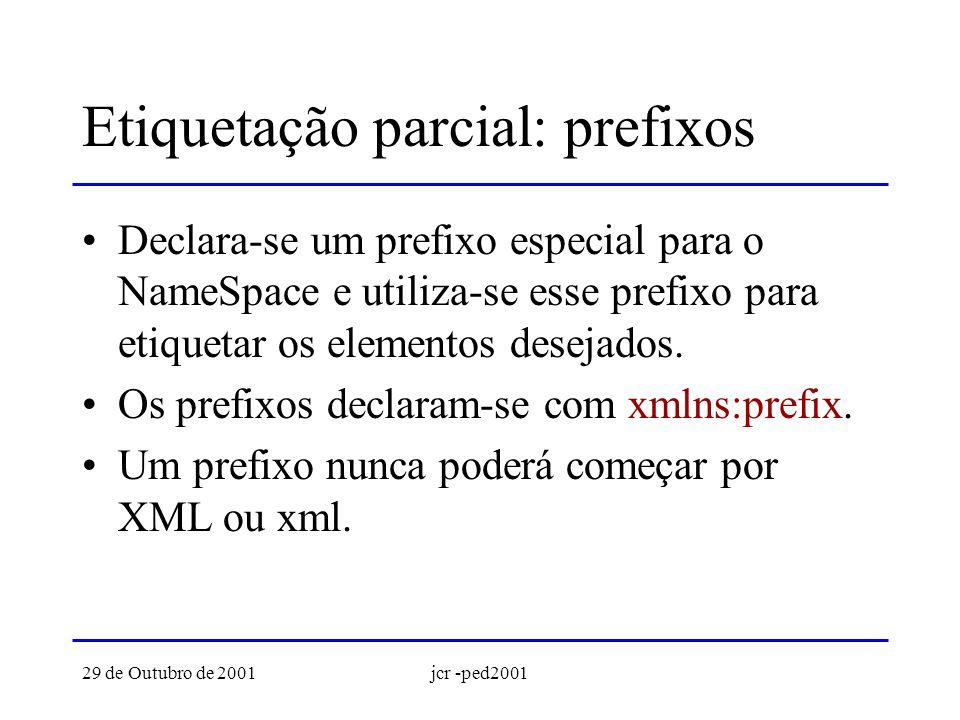 29 de Outubro de 2001jcr -ped2001 Prefixos: exemplo <jcrag:agenda xmlns:jcrag=http://xml.di.uminho.pt/jcr/agenda/1.0> José Carlos Ramalho jcr@di.uminho.pt 253 604479...