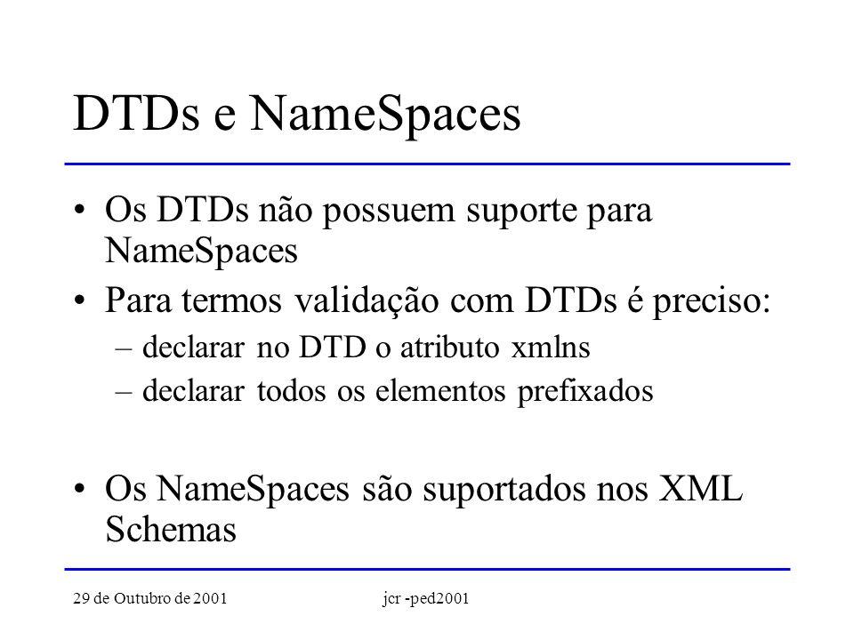 29 de Outubro de 2001jcr -ped2001 DTD: NameSpace absoluto <!ATTLIST agenda xmlns CDATA #IMPLIED >...