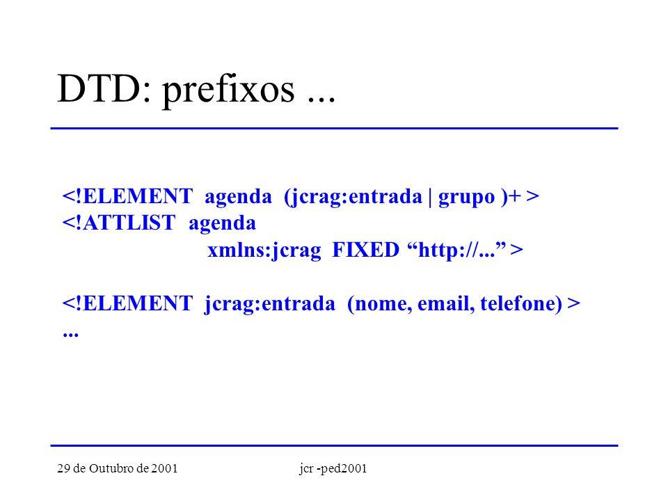29 de Outubro de 2001jcr -ped2001 DTD: prefixos...