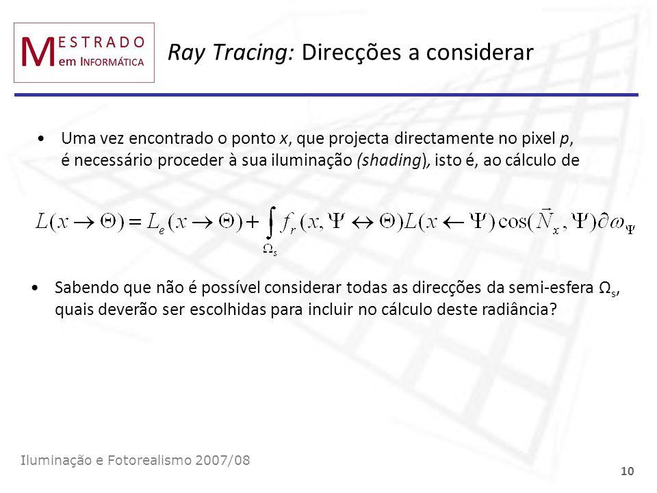 Ray Tracing: Direcções a considerar Iluminação e Fotorealismo 2007/08 10 Uma vez encontrado o ponto x, que projecta directamente no pixel p, é necessá