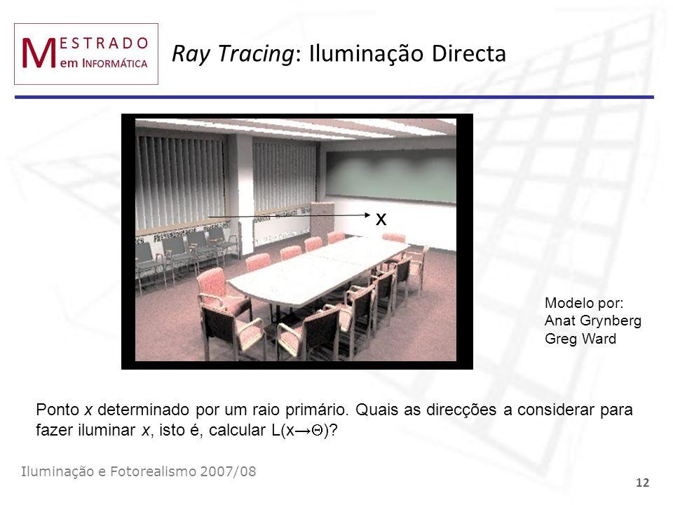 Ray Tracing: Iluminação Directa Iluminação e Fotorealismo 2007/08 12 x Ponto x determinado por um raio primário. Quais as direcções a considerar para