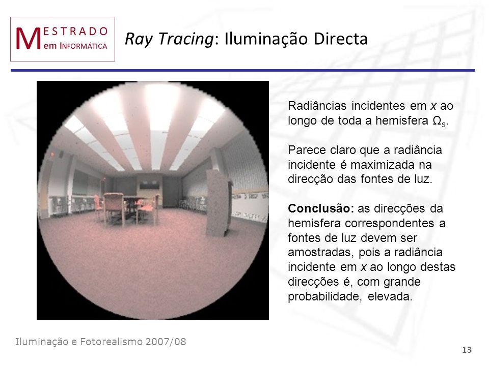Ray Tracing: Iluminação Directa Iluminação e Fotorealismo 2007/08 13 Radiâncias incidentes em x ao longo de toda a hemisfera Ω s. Parece claro que a r