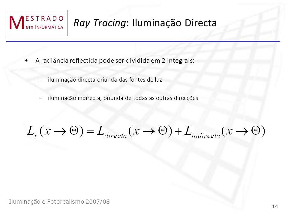 Ray Tracing: Iluminação Directa Iluminação e Fotorealismo 2007/08 14 A radiância reflectida pode ser dividida em 2 integrais: –iluminação directa oriu
