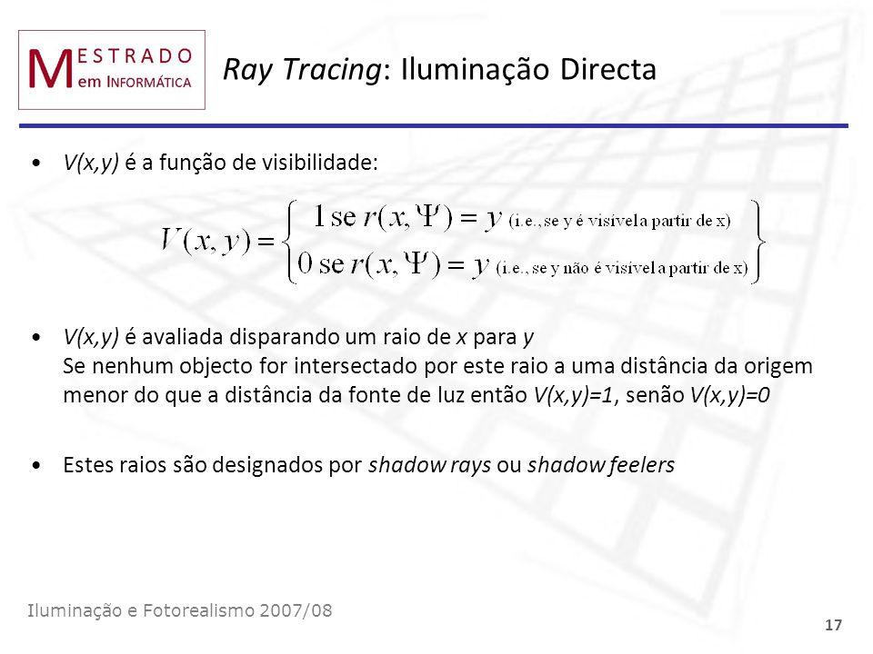 Ray Tracing: Iluminação Directa V(x,y) é a função de visibilidade: V(x,y) é avaliada disparando um raio de x para y Se nenhum objecto for intersectado