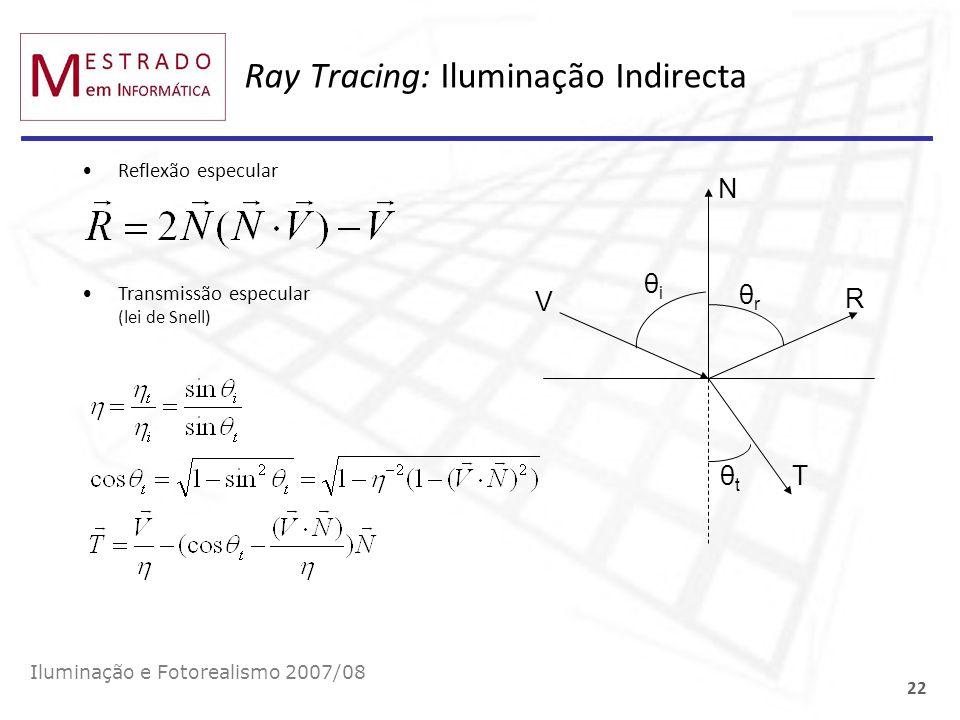 Ray Tracing: Iluminação Indirecta Iluminação e Fotorealismo 2007/08 22 Reflexão especular Transmissão especular (lei de Snell) θiθi θtθt θrθr V N R T