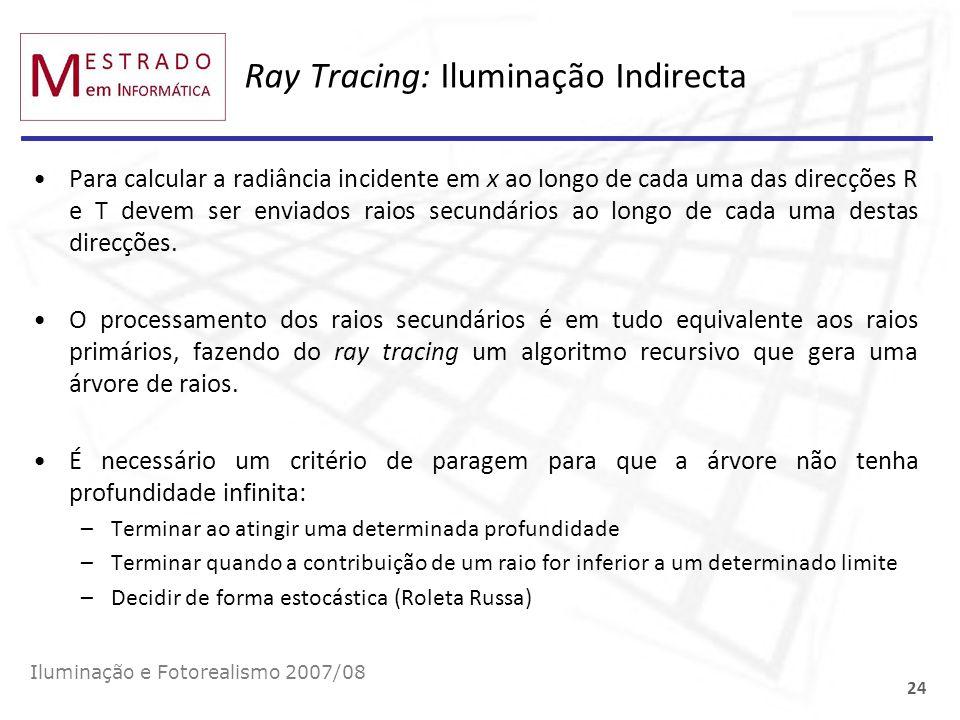 Ray Tracing: Iluminação Indirecta Para calcular a radiância incidente em x ao longo de cada uma das direcções R e T devem ser enviados raios secundári