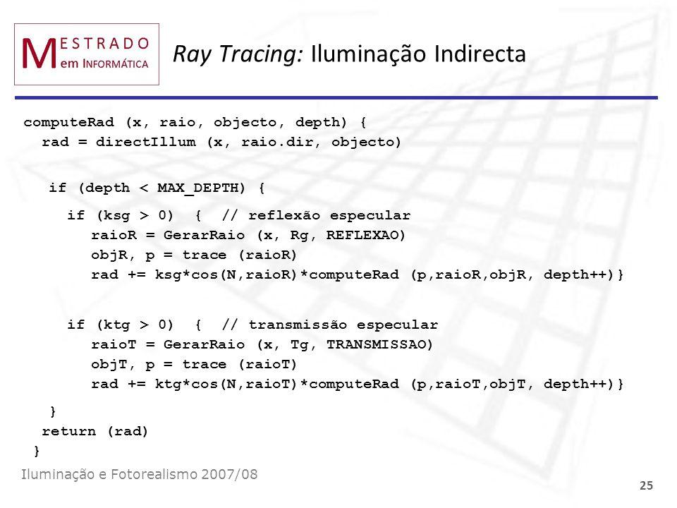 Ray Tracing: Iluminação Indirecta computeRad (x, raio, objecto, depth) { rad = directIllum (x, raio.dir, objecto) if (depth < MAX_DEPTH) { if (ksg > 0