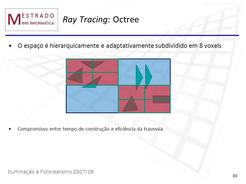 Ray Tracing: Octree O espaço é hierarquicamente e adaptativamente subdividido em 8 voxels Iluminação e Fotorealismo 2007/08 30 Compromisso entre tempo