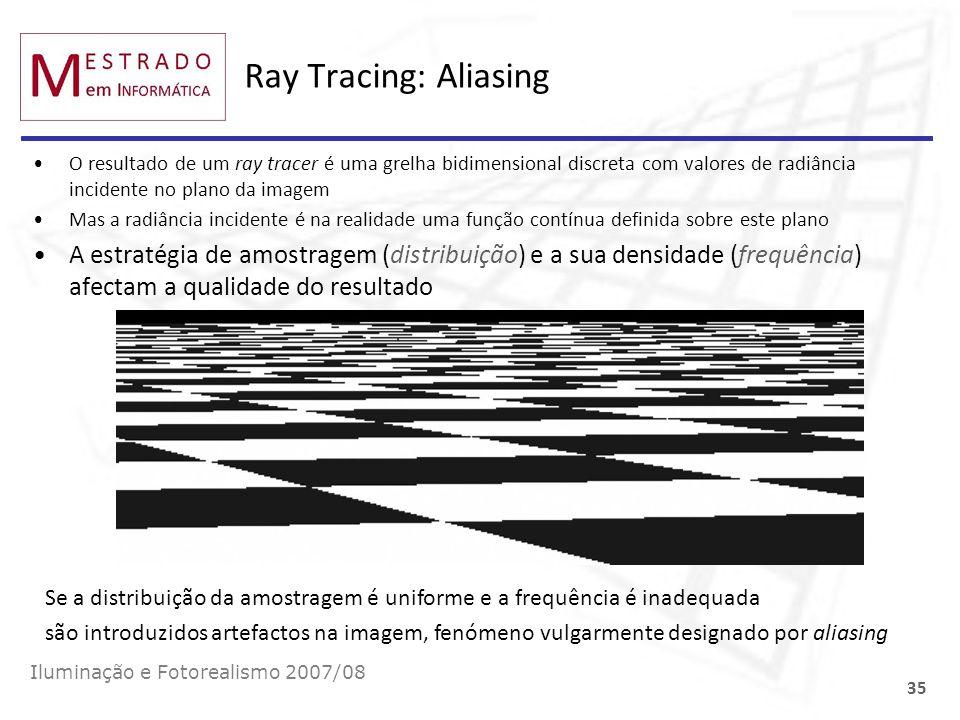 Ray Tracing: Aliasing O resultado de um ray tracer é uma grelha bidimensional discreta com valores de radiância incidente no plano da imagem Mas a rad