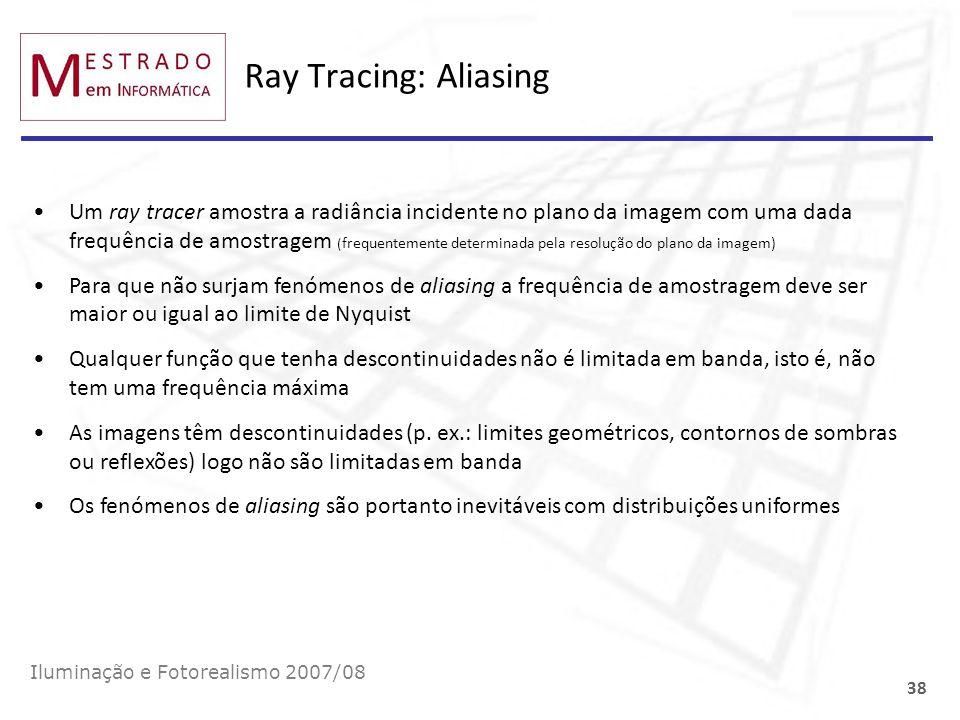 Ray Tracing: Aliasing Iluminação e Fotorealismo 2007/08 38 Um ray tracer amostra a radiância incidente no plano da imagem com uma dada frequência de a