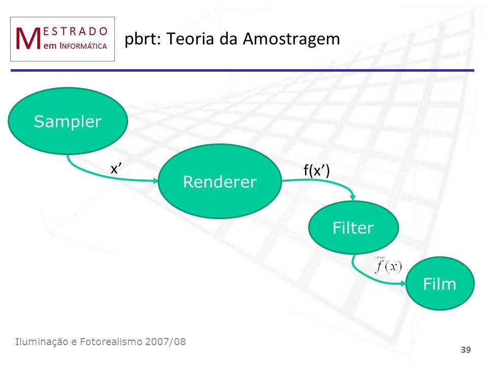 pbrt: Teoria da Amostragem Iluminação e Fotorealismo 2007/08 39 x Filter Sampler Renderer f(x) Film