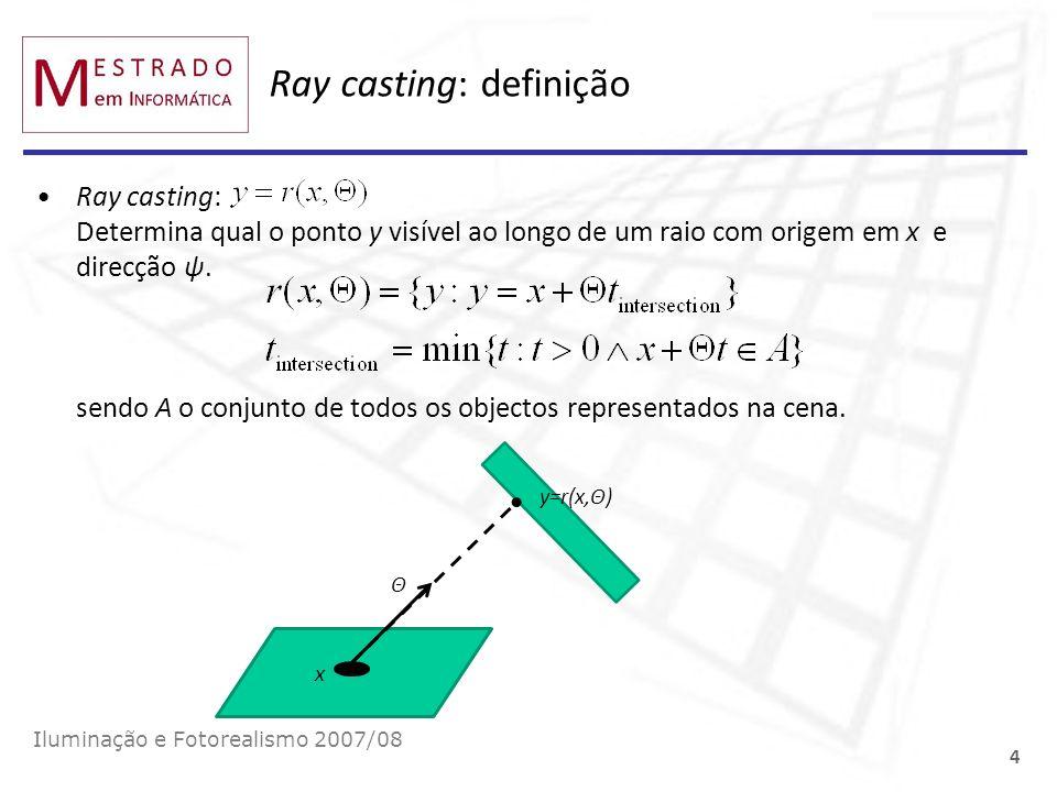 Ray casting: definição Ray casting: Determina qual o ponto y visível ao longo de um raio com origem em x e direcção ψ. sendo A o conjunto de todos os