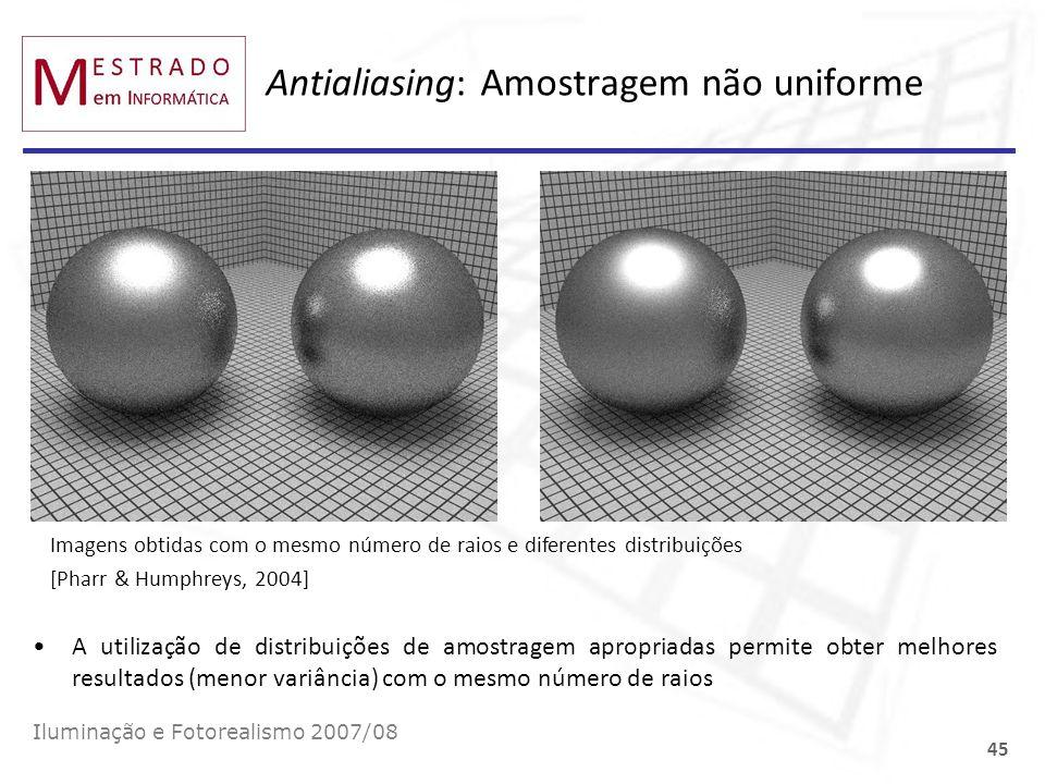 Antialiasing: Amostragem não uniforme Iluminação e Fotorealismo 2007/08 45 A utilização de distribuições de amostragem apropriadas permite obter melho