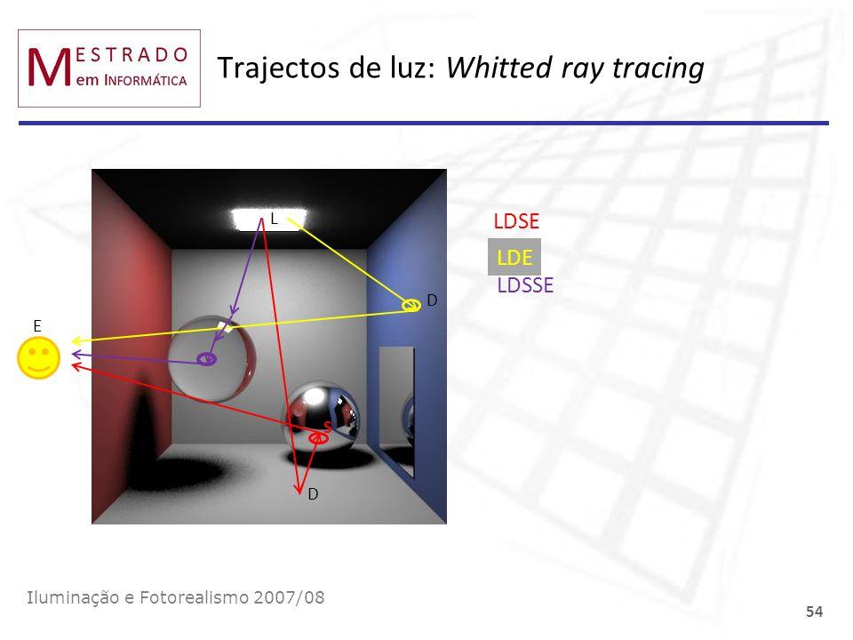 Trajectos de luz: Whitted ray tracing Iluminação e Fotorealismo 2007/08 54 E L D S LDSE D LDE LDSSE