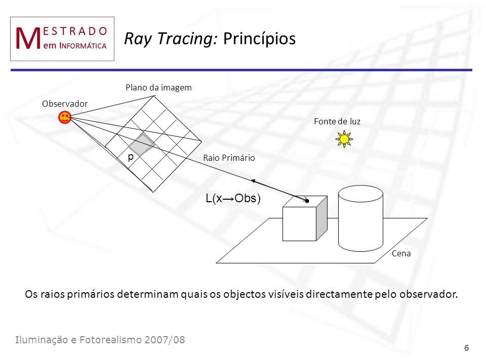 Plano da imagem p Ray Tracing: Princípios Iluminação e Fotorealismo 2007/08 6 Observador x Cena Fonte de luz L(xObs) Raio Primário Os raios primários