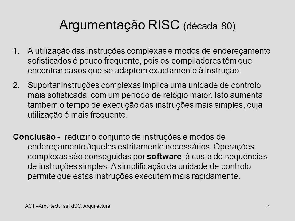 AC1 –Arquitecturas RISC: Arquitectura4 Argumentação RISC (década 80) 1.A utilização das instruções complexas e modos de endereçamento sofisticados é p