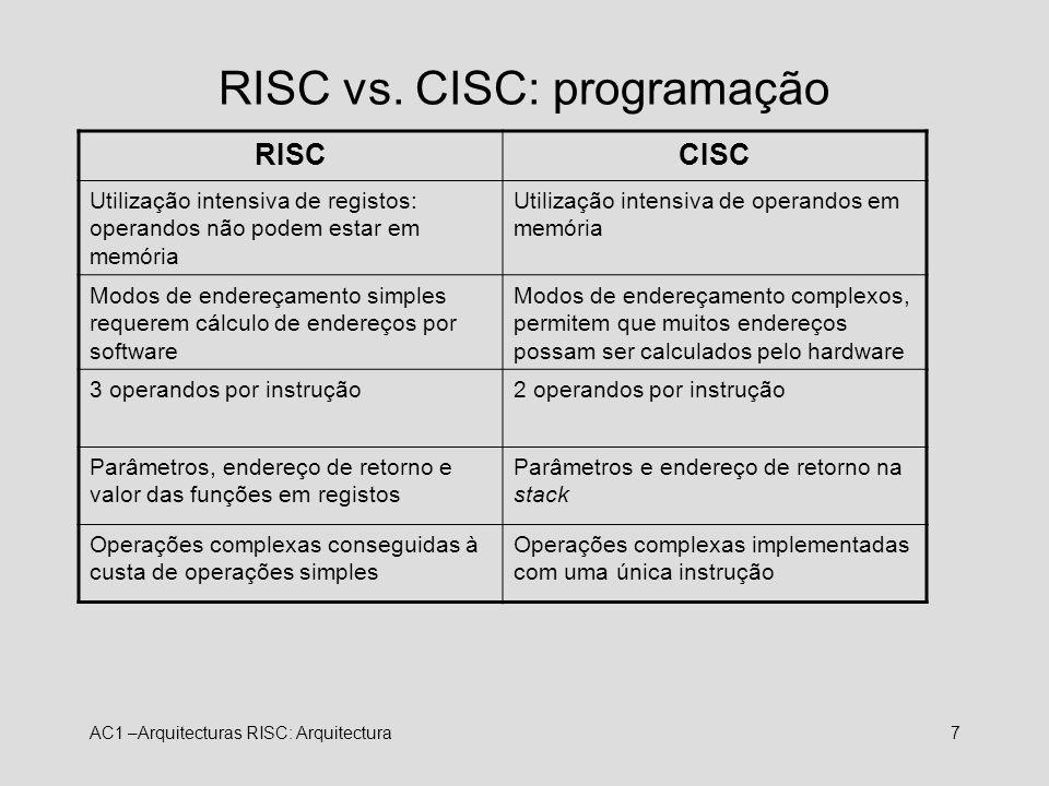 AC1 –Arquitecturas RISC: Arquitectura7 RISC vs. CISC: programação RISCCISC Utilização intensiva de registos: operandos não podem estar em memória Util