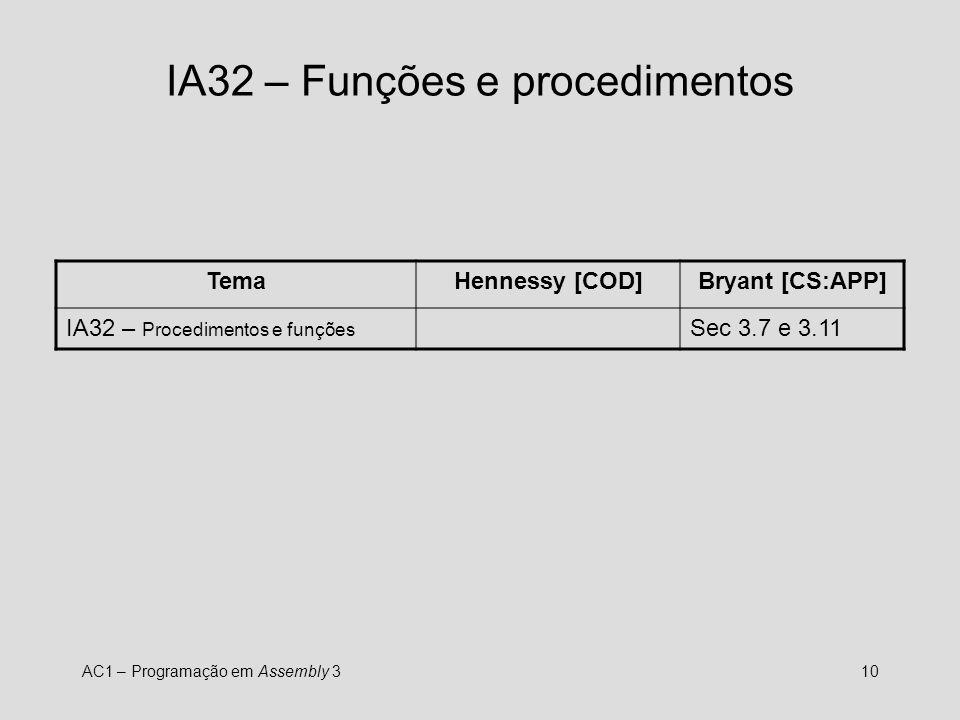 AC1 – Programação em Assembly 310 IA32 – Funções e procedimentos TemaHennessy [COD]Bryant [CS:APP] IA32 – Procedimentos e funções Sec 3.7 e 3.11