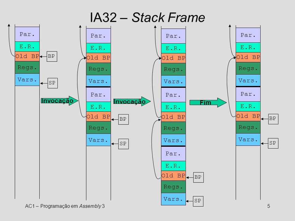 AC1 – Programação em Assembly 35 IA32 – Stack Frame Par.