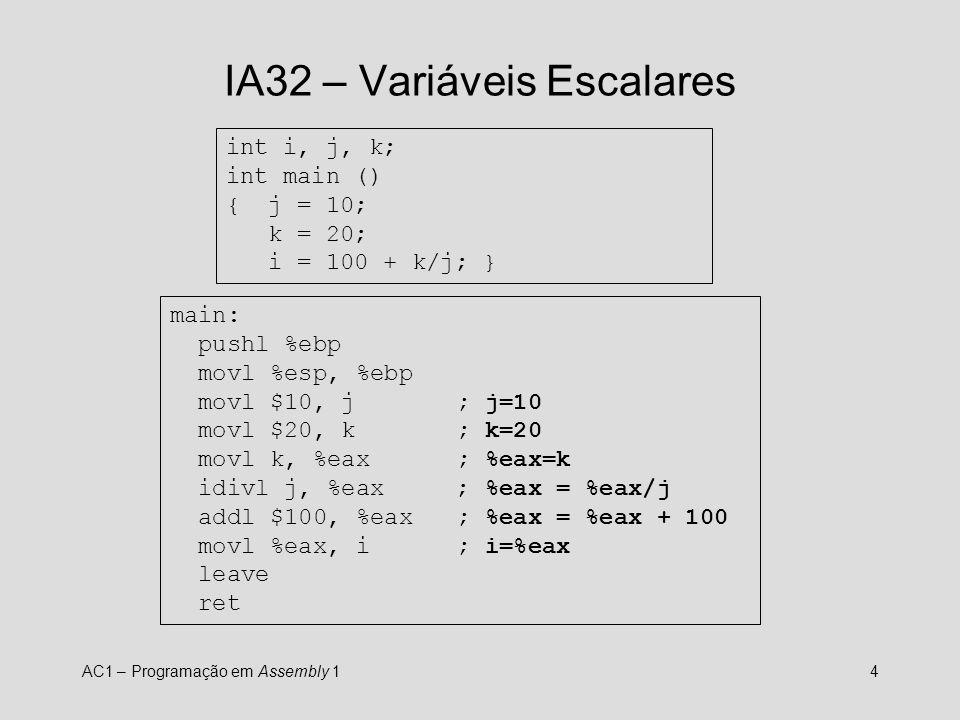 AC1 – Programação em Assembly 15 IA32 – if..then..