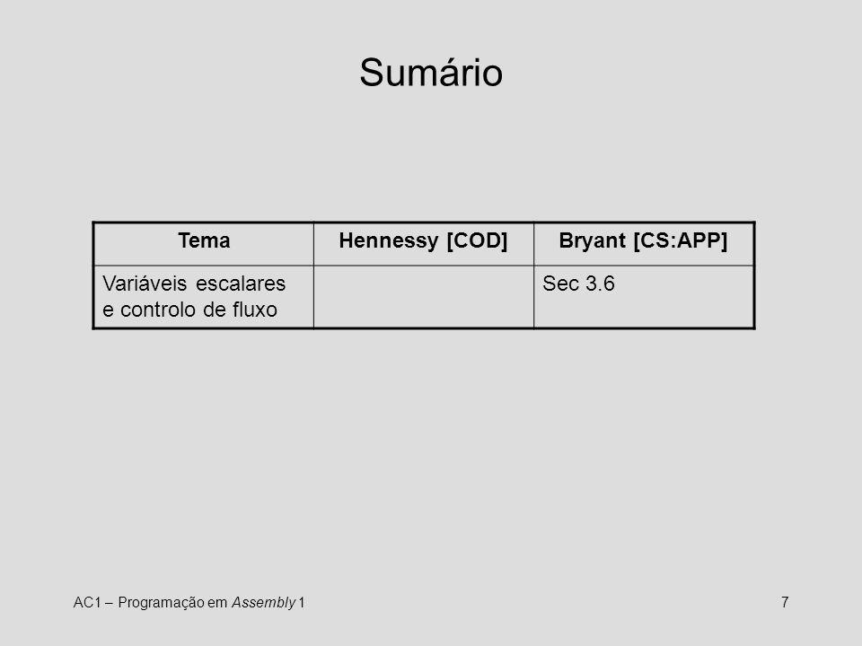 AC1 – Programação em Assembly 17 Sumário TemaHennessy [COD]Bryant [CS:APP] Variáveis escalares e controlo de fluxo Sec 3.6