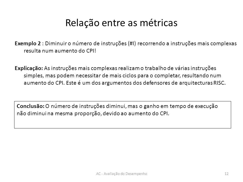 Relação entre as métricas AC - Avaliação do Desempenho12 Exemplo 2 : Diminuir o número de instruções (#I) recorrendo a instruções mais complexas resulta num aumento do CPI.
