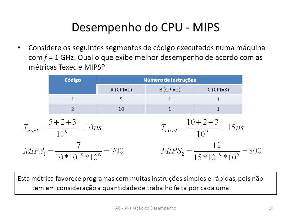 Desempenho do CPU - MIPS Considere os seguintes segmentos de código executados numa máquina com f = 1 GHz.