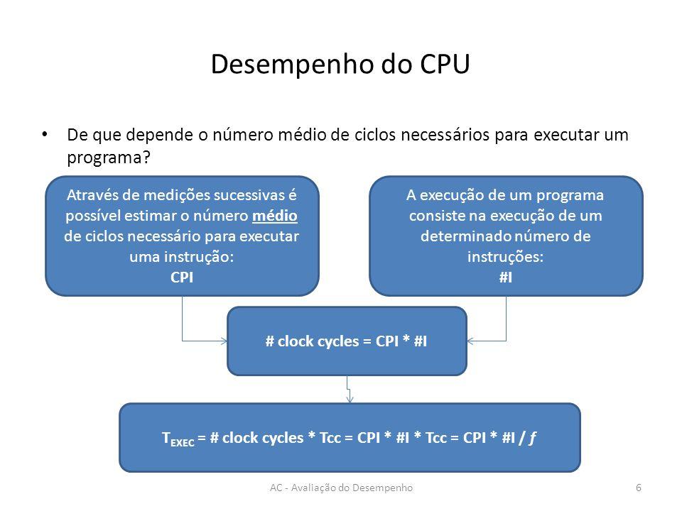Desempenho - CPE AC - Avaliação do Desempenho17 void metade1 (int *a, int n) { for (int i=0 ; i<n ; i++) a[i] = a[i] /2; } void metade2 (int *a, int n) { for (int i=0 ; i<n ; i++) a[i] >>= 1; } Declive = CPE = 4.0 Declive = CPE = 3.5 NOTA: valores fictícios.