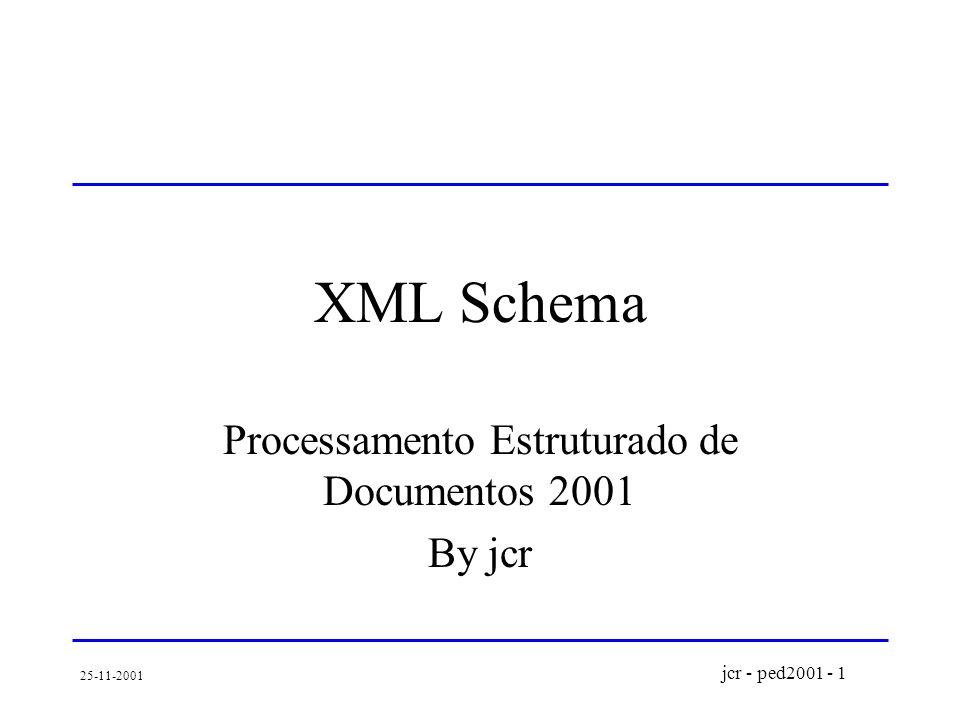 jcr - ped2001 - 1 25-11-2001 XML Schema Processamento Estruturado de Documentos 2001 By jcr