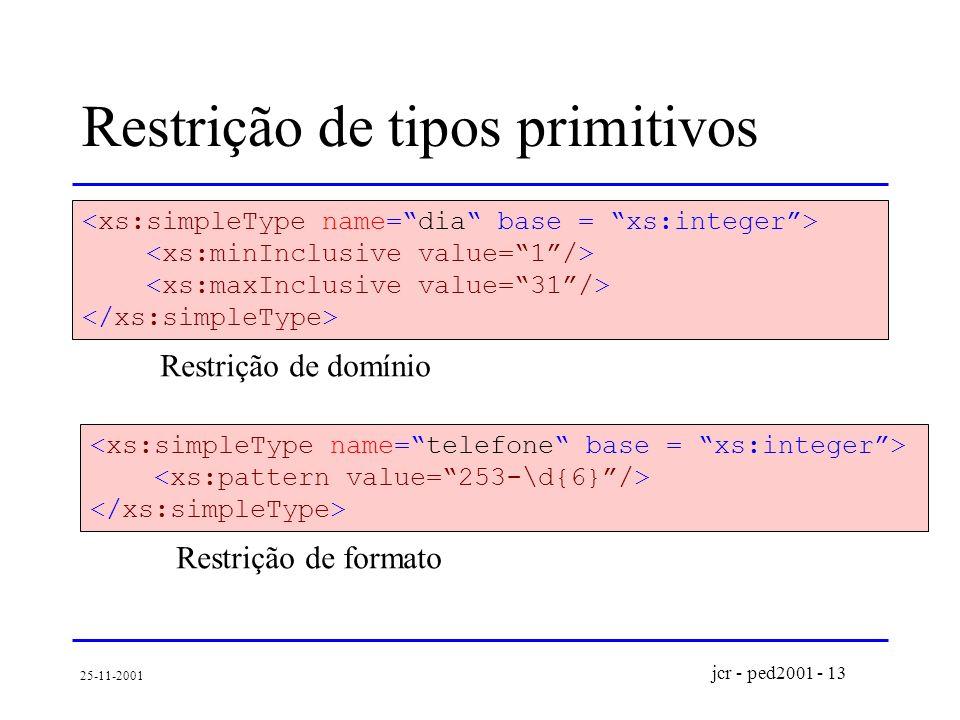 jcr - ped2001 - 13 25-11-2001 Restrição de tipos primitivos Restrição de domínio Restrição de formato