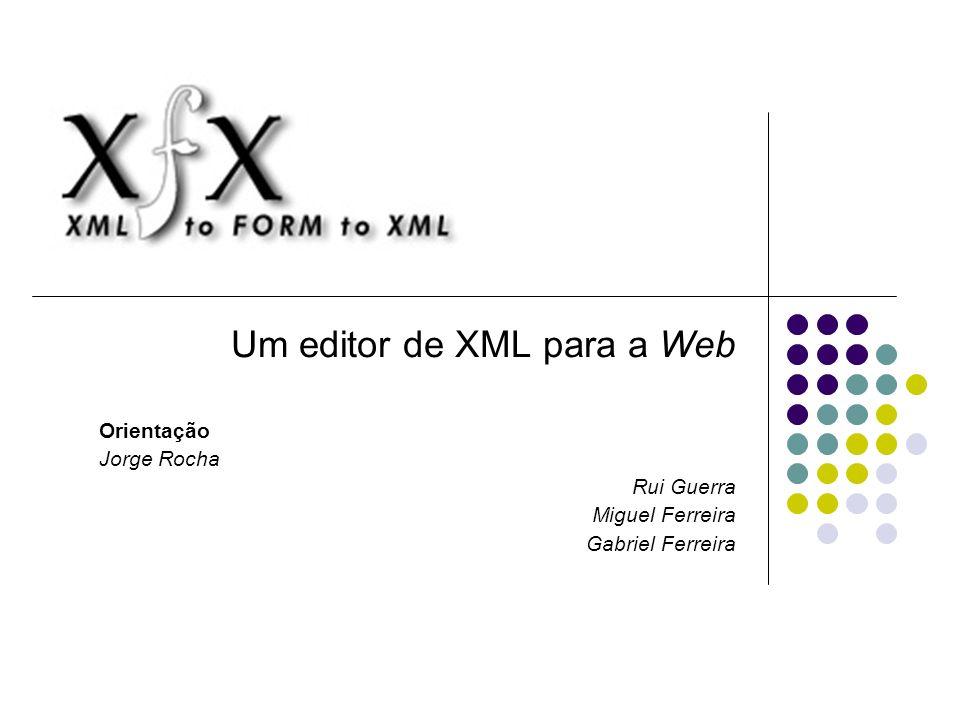 Um editor de XML para a Web Orientação Jorge Rocha Rui Guerra Miguel Ferreira Gabriel Ferreira