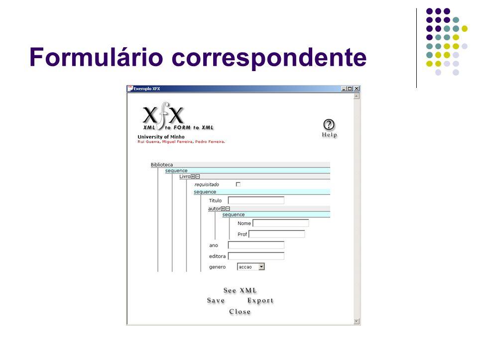 Formulário correspondente