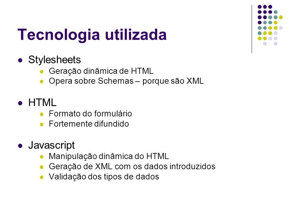 Tecnologia utilizada Stylesheets Geração dinâmica de HTML Opera sobre Schemas – porque são XML HTML Formato do formulário Fortemente difundido Javascr