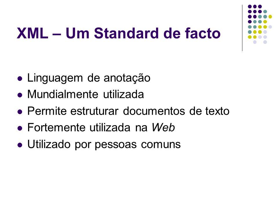 XML – Um Standard de facto Linguagem de anotação Mundialmente utilizada Permite estruturar documentos de texto Fortemente utilizada na Web Utilizado p