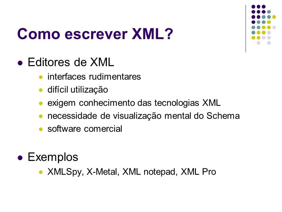 Como escrever XML? Editores de XML interfaces rudimentares difícil utilização exigem conhecimento das tecnologias XML necessidade de visualização ment