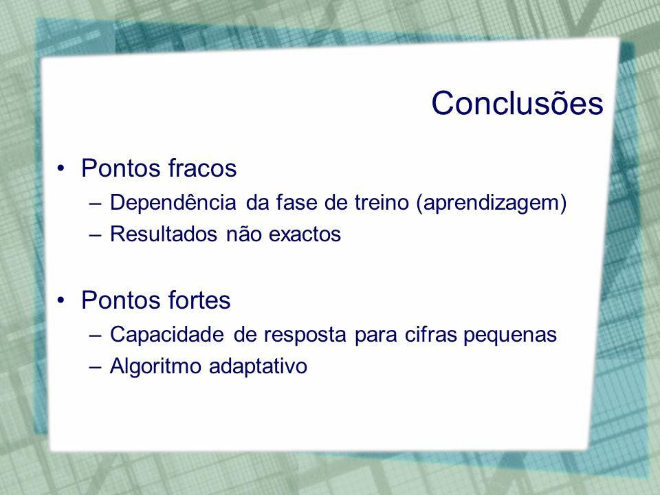 Conclusões Pontos fracos –Dependência da fase de treino (aprendizagem) –Resultados não exactos Pontos fortes –Capacidade de resposta para cifras peque