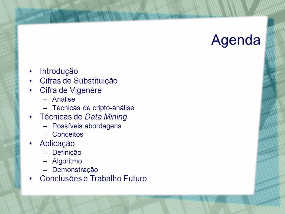 Agenda Introdução Cifras de Substituição Cifra de Vigenère –Análise –Técnicas de cripto-análise Técnicas de Data Mining –Possíveis abordagens –Conceit