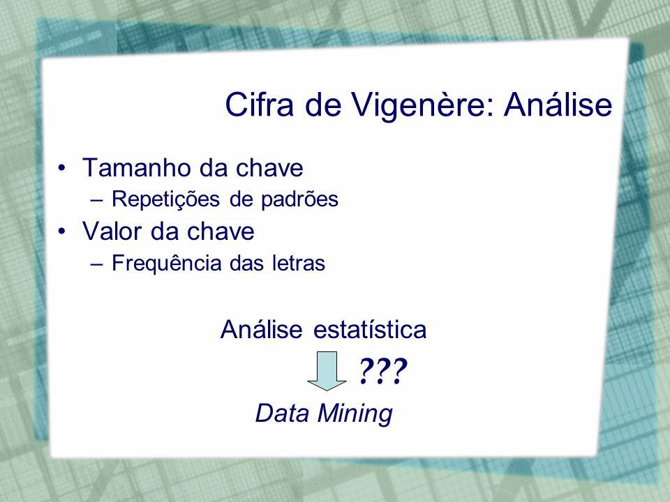 Cifra de Vigenère: Análise Tamanho da chave –Repetições de padrões Valor da chave –Frequência das letras Análise estatística ??? Data Mining
