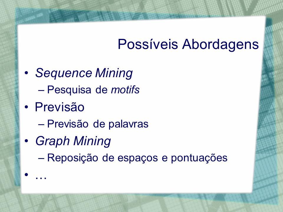 Possíveis Abordagens Sequence Mining –Pesquisa de motifs Previsão –Previsão de palavras Graph Mining –Reposição de espaços e pontuações …
