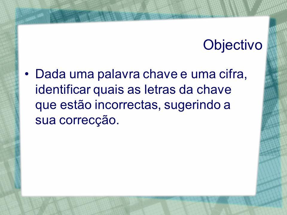 Objectivo Dada uma palavra chave e uma cifra, identificar quais as letras da chave que estão incorrectas, sugerindo a sua correcção.